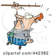Royalty Free RF Clip Art Illustration Of A Cartoon Businessman Losing His Grip by toonaday