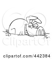 Royalty Free RF Clip Art Illustration Of A Cartoon Black And White Outline Design Of A Happy Pig In A Mud Puddle