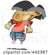 Royalty Free RF Clip Art Illustration Of A Cartoon Happy Girl Leaping