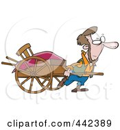 Royalty Free RF Clip Art Illustration Of A Cartoon Amish Man Pulling A Hand Cart by toonaday
