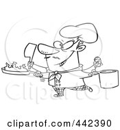 Royalty Free RF Clip Art Illustration Of A Cartoon Black And White Outline Design Of A Multi Tasking Chef by toonaday