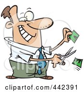 Royalty Free RF Clip Art Illustration Of A Cartoon Businessman Cutting His Price In Half by toonaday