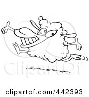 Royalty Free RF Clip Art Illustration Of A Cartoon Black And White Outline Design Of A Happy Lamb Leaping by toonaday