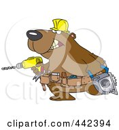 Royalty Free RF Clip Art Illustration Of A Cartoon Handy Bear With Tools by toonaday
