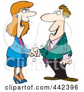 Poster, Art Print Of Cartoon Businessman And Woman Shaking Hands