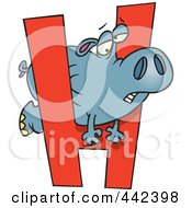 Royalty Free RF Clip Art Illustration Of A Cartoon Hippo Squeezing Through A Letter H by toonaday