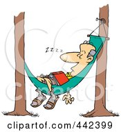 Royalty Free RF Clip Art Illustration Of A Cartoon Man Snoozing In A Hammock by toonaday