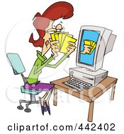 Royalty Free RF Clip Art Illustration Of A Cartoon Woman Playing Poker Online by toonaday