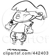 Royalty Free RF Clip Art Illustration Of A Cartoon Black And White Outline Design Of A Happy Girl Leaping
