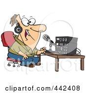 Royalty Free RF Clip Art Illustration Of A Cartoon Man Talking On Ham Radio by toonaday #COLLC442408-0008