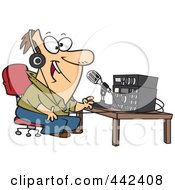 Royalty Free RF Clip Art Illustration Of A Cartoon Man Talking On Ham Radio