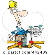 Royalty Free RF Clip Art Illustration Of A Cartoon Repair Man Using A Circular Saw by toonaday