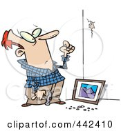 Royalty Free RF Clip Art Illustration Of A Cartoon Man Trying To Hang A Picture On A Wall by toonaday