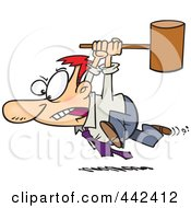 Royalty Free RF Clip Art Illustration Of A Cartoon Businessman Running With A Hammer by toonaday