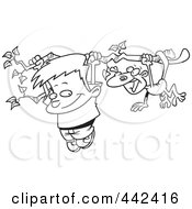 Royalty Free RF Clip Art Illustration Of A Cartoon Black And White Outline Design Of A Boy And A Monkey Hanging From A Tree Branch by toonaday