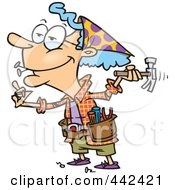 Royalty Free RF Clip Art Illustration Of A Cartoon Handy Granny Using A Hammer by toonaday