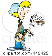 Royalty Free RF Clip Art Illustration Of A Cartoon Female Carpenter Holding A Saw And Tossing A Hammer by toonaday
