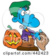 Royalty Free RF Clip Art Illustration Of A Cartoon Frankenstein Boy Trick Or Treating by toonaday