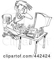 Royalty Free RF Clip Art Illustration Of A Cartoon Black And White Outline Design Of A Computer Hacking Man