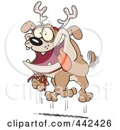 Royalty Free RF Clip Art Illustration Of A Cartoon Christmas Bulldog Wearing Antlers