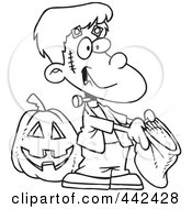 Royalty Free RF Clip Art Illustration Of A Cartoon Black And White Outline Design Of A Frankenstein Boy Trick Or Treating