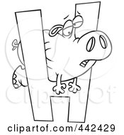 Royalty Free RF Clip Art Illustration Of A Cartoon Black And White Outline Design Of A Hippo Squeezing Through A Letter H