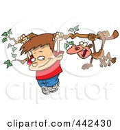 Cartoon Boy And A Monkey Hanging From A Tree Branch