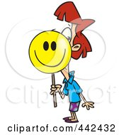 Royalty Free RF Clip Art Illustration Of A Cartoon Businesswoman Putting On A Happy Face