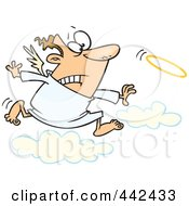 Cartoon Male Angel Chasing His Halo