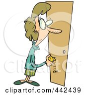 Royalty Free RF Clip Art Illustration Of A Cartoon Woman Holding A Broken Door Handle by toonaday