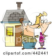 Royalty Free RF Clip Art Illustration Of A Cartoon Happy Couple By Their Home by Ron Leishman