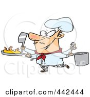 Royalty Free RF Clip Art Illustration Of A Cartoon Multi Tasking Chef by Ron Leishman
