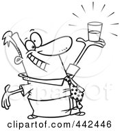 Royalty Free RF Clip Art Illustration Of A Cartoon Black And White Outline Design Of A Businessman Holding A Glass Half Full