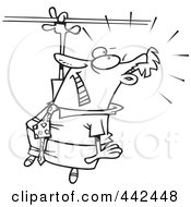 Royalty Free RF Clip Art Illustration Of A Cartoon Black And White Outline Design Of A Businessman Losing His Grip by toonaday