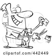 Royalty Free RF Clip Art Illustration Of A Cartoon Black And White Outline Design Of A Businessman Cutting His Price In Half