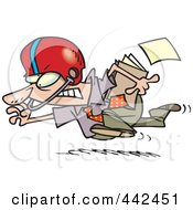Cartoon Businessman Running With A File And Wearing A Helmet