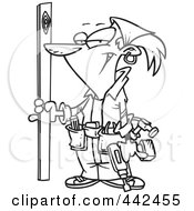 Royalty Free RF Clip Art Illustration Of A Cartoon Black And White Outline Design Of A Handy Woman Holding A Board by toonaday