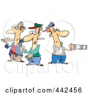 Royalty Free RF Clip Art Illustration Of A Cartoon Team Of Three Accident Prone Handy Men
