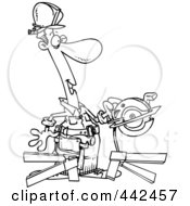 Poster, Art Print Of Cartoon Black And White Outline Design Of A Repair Man Using A Circular Saw