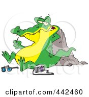 Royalty Free RF Clip Art Illustration Of A Cartoon Gator Picking His Teeth After Eating A Tourist by toonaday