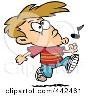 Royalty Free RF Clip Art Illustration Of A Cartoon Boy Walking And Whistling