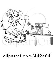 Royalty Free RF Clip Art Illustration Of A Cartoon Black And White Outline Design Of A Man Talking On Ham Radio by toonaday