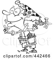 Royalty Free RF Clip Art Illustration Of A Cartoon Black And White Outline Design Of A Handy Granny Using A Hammer by toonaday