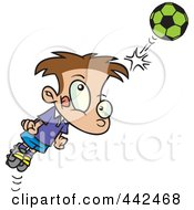 Royalty Free RF Clip Art Illustration Of A Cartoon Soccer Boy Bouncing A Ball Off His Head by toonaday