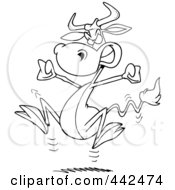 Royalty Free RF Clip Art Illustration Of A Cartoon Black And White Outline Design Of A Bull Having A Cow by toonaday