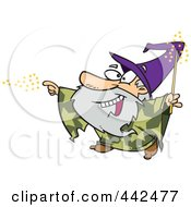 Royalty Free RF Clip Art Illustration Of A Cartoon Wizard Using Magic by toonaday