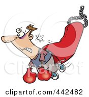 Royalty Free RF Clip Art Illustration Of A Cartoon Man Being Knocked Out By A Punching Bag