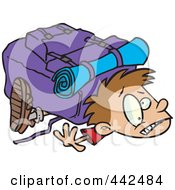 Royalty Free RF Clip Art Illustration Of A Cartoon Boy Crushed Under A Heavy Hiking Backpack by toonaday