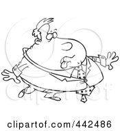 Royalty Free RF Clip Art Illustration Of A Cartoon Black And White Outline Design Of A Heavy Businessman by toonaday