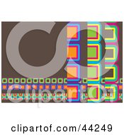 Clipart Illustration Of A Brown And Colorful Cube Website Background